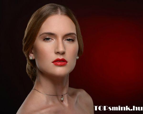 Szalagavató smink, alkalmi smink készítése Budapesten. Rieder Otília profi sminkes, make up artist. www.topsmink.hu, Makeup,  red lips, prom makeup.