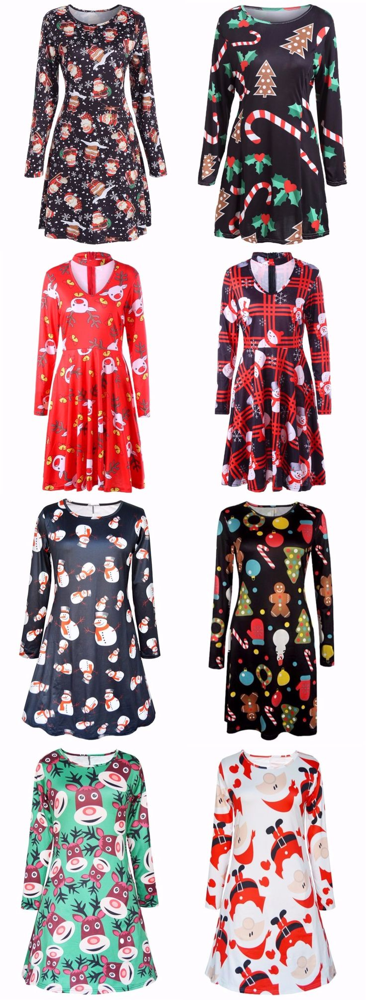 Merry Christmas Dress| Start at only $10 | Party Dress | Christmas Idea| Print Dress| Swing Dress | Snowflake Dress| Snowman Dress| Vintage Dress| Sammydress.com