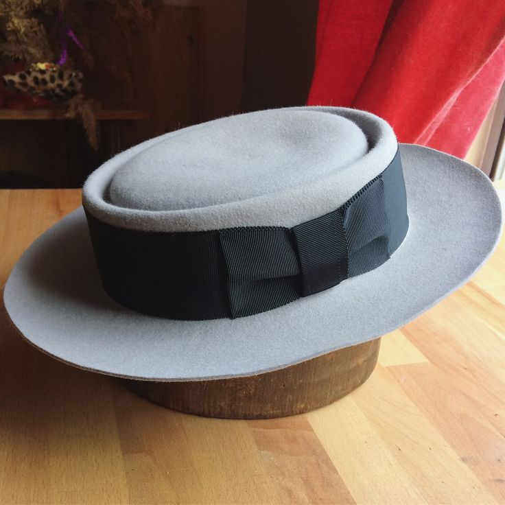 Custom Buster Keaton Pork pie hat replica in soft Suede fur felt