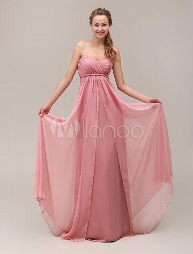 Robe demoiselle d'honneur nude plissé d'encolure en coeur et dos décolleté Milanoo