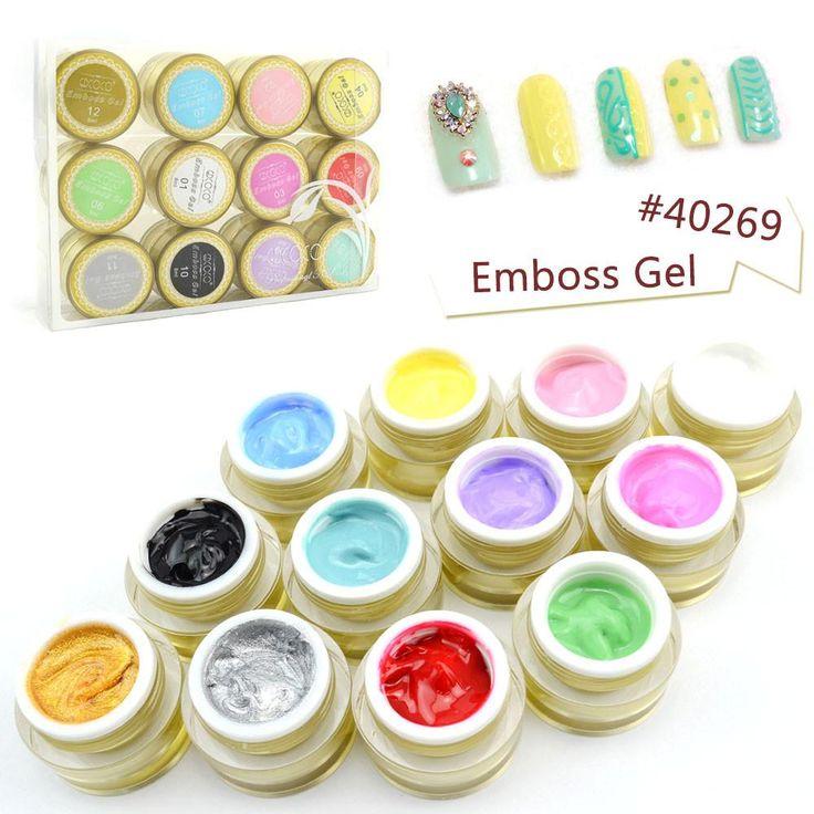 Professional Nail Art Beauty 12 Colors 3D UV/LED Emboss Gel 3D Color Gel