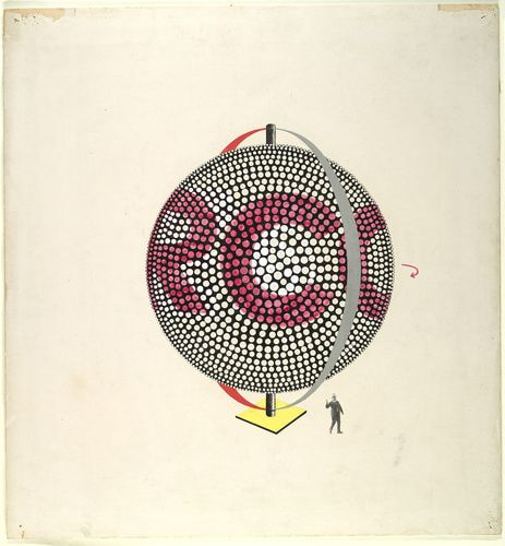Herbert Bayer (American, b. Austria, 1900-1985). Design for an illuminated advertising sphere, 1924. Ink, gouache, cut-and-pasted photomechanical element, and pencil traces on tan card, with incising and pin holes. 20 5/8 x 19 5/16 in. (52.4 x 49.1 cm).