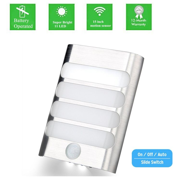 KINGSO Motion Sensor LED Light Battery Operated Wall Sconce Aluminum Alloy PIR Detector Light,Stick Anywhere Auto On/Off Night Light for Baby,Bathroom,Bedroom,Toilet,Kitchen,Path Warm White