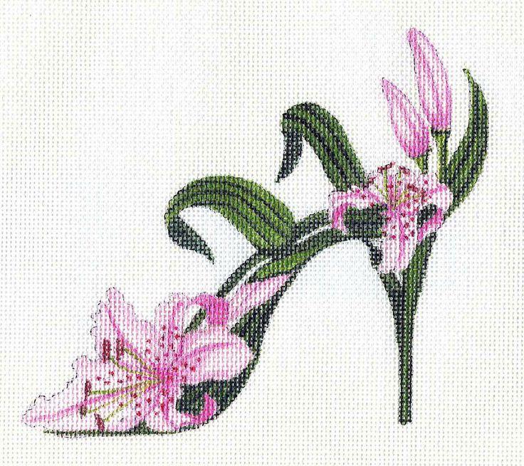 Handpainted Raspberry Lily Slipper Needlepoint Canvas