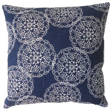 Navy Ikat Medallion Decorative Pillow Cover contemporary-pillowcases-and-shams
