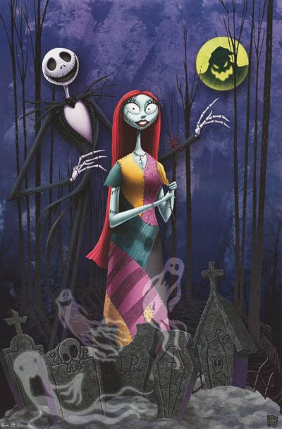 Nightmare Before Christmas Jack and Sally in Cemetery Poster 22x34