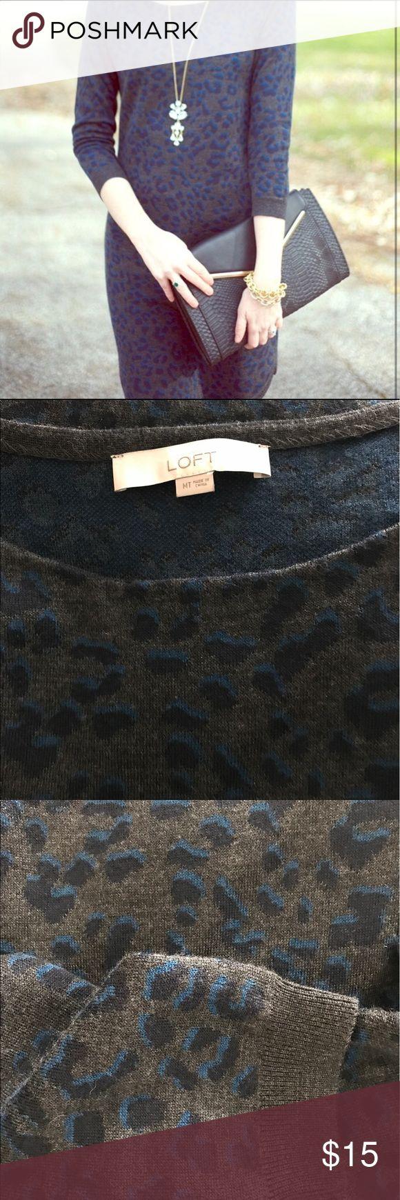 Loft Leopard Sweater Dress Loft Leopard sweater dress, gray with navy and teal spots.  Beautiful construction, shirttail hem. LOFT Dresses Midi