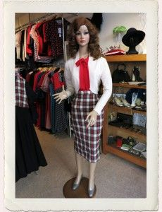 Bettie Pencil Skirt White Tartan