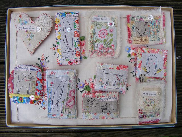 Brooches by hens teeth, via Flickr  (could use in with small canvas art in shadow box).
