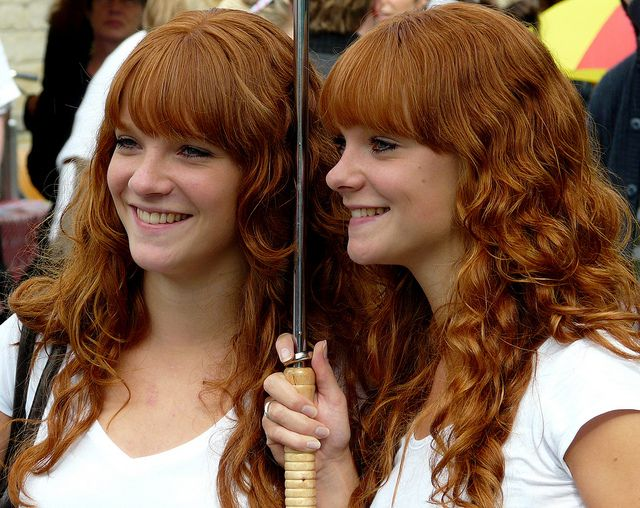 Nude red haired twins
