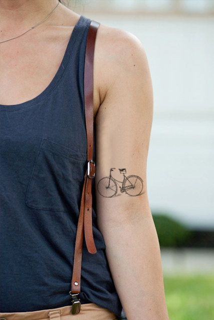 Vintage bicycle / bike temporary tattoo by Tattoorary on Etsy, $6.00
