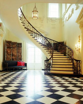 The main staircase in the Swan House in Atlanta, GA.  I am so nostalgic of this era, just think if these stairs could talk........