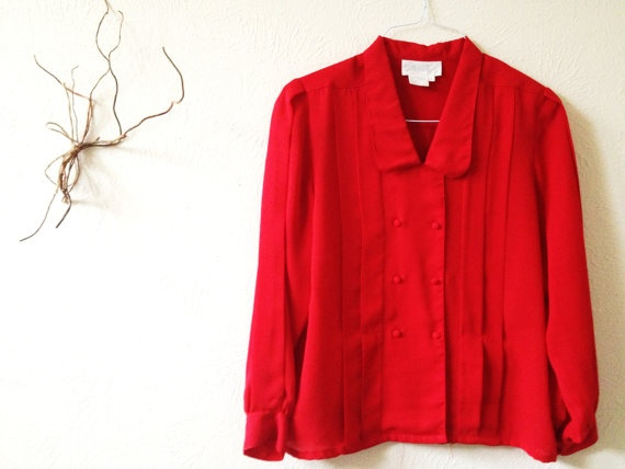 Vintage Red Shirt Size 8 Semi Sheer Blouse by lillysshoppe on Etsy, $19.00