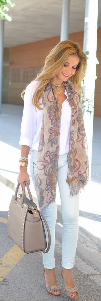 I wear my scarves simply hanging around my neck like this all the time...it adds color to plain tops and bottoms and it elongates your figure and So Easy! ༺✿Teresa Restegui http://www.pinterest.com/teretegui/✿༻