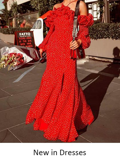 5d472e00a7 Red Chiffon Polka Dot Print Ruffle Trim Long Sleeve Maxi Dress ...