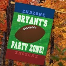 Personalized Football Party Zone House Flags. Get your home geared up for Football Season by displaying this large and sporty Football Personalized House Flag at your front entrance. Each time this highly visible house flag is displayed, you will be welcoming all of your rowdy football fans for the big game. Cheer on your favorite football team and let everyone in the neighborhood know you're their biggest fan.
