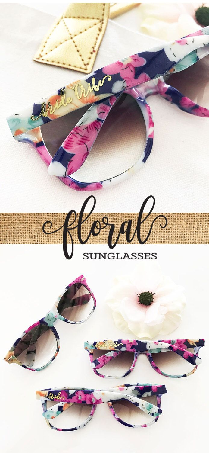 Floral Bachelorette Sunglasses Floral Bridal Shower Decor Bride Tribe Sunglasses Bachelorette Party Favors Aloha Bachelorette (EB3203TRB) by ModParty on Etsy https://www.etsy.com/listing/495914500/floral-bachelorette-sunglasses-floral
