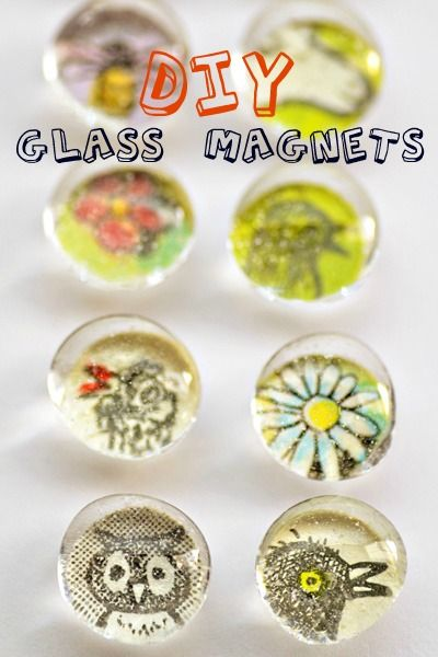diy glass magnets- also can use beer caps and clear nail polish