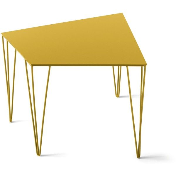 Atipico Chele coffee table - nr. 7321 - traffic yellow (825 SAR) ❤ liked on Polyvore featuring home, furniture, tables, accent tables, black, round accent table, yellow accent table, round occasional tables, yellow coffee table and triangle accent table