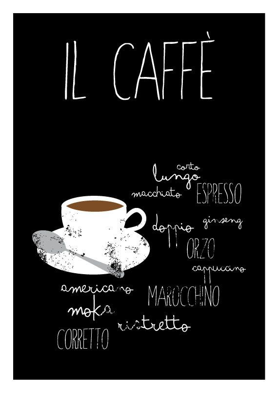 Il Caffè Typographic poster kitchen art by TheShufflePrintsShop