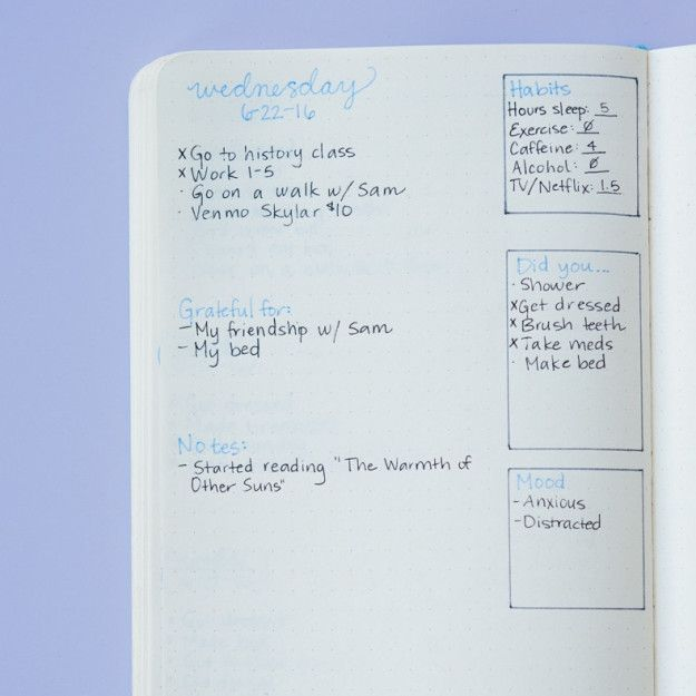 Instead of the monthly layout (or in addition to it), you can also create spaces to track all of these habits on your daily spread. Here's an example of what that could look like: