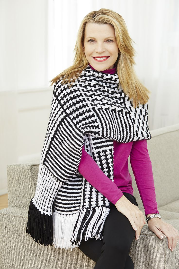 Perfect your slip-stitch knitting with this graphic shawl! Make it with 6 balls of Vanna's Choice (pictured in black and white) and size 9 (5.5mm) knitting needles.