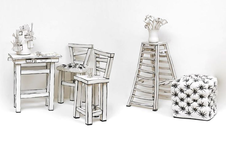 katharine morling's ceramic furniture + objects appear two-dimensional