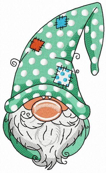 Gnome in polka dot phrygian cap embroidery design …