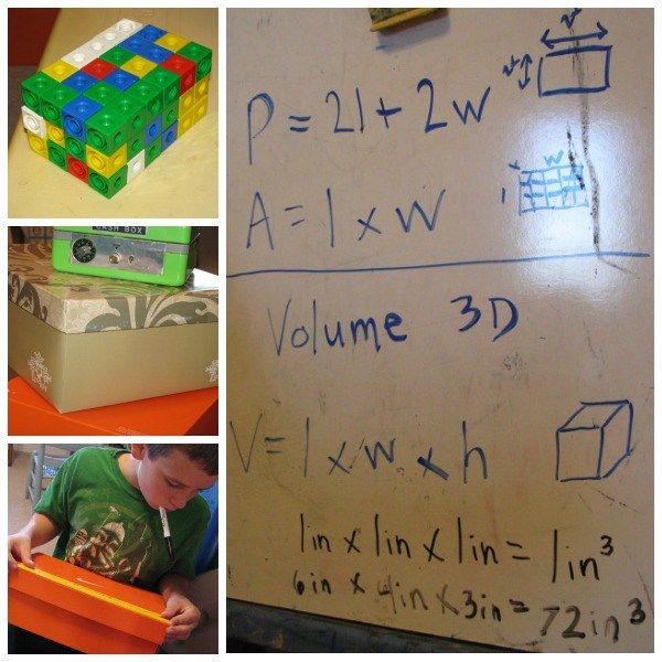 Snap cubes are great for teaching perimeter, area, and volume in a hands-on way.  This lesson focused on volume and understanding the formula for finding volume.  Before jumping into the subject of volume, we reviewed the formulas for finding perimeter (p = 2l + 2w, or perimeter = 2x the length plus 2x the width) and area (a = l x w, or area = length times width.)
