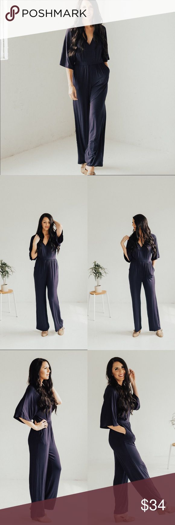 V Neck Jumpsuit- Navy Gorgeous piece and comfortable to wear! I am 5'9 wearing a size Small. Small (0-4) Medium (4-8) Large (8-12). Rayon Spandex Pants Jumpsuits & Rompers