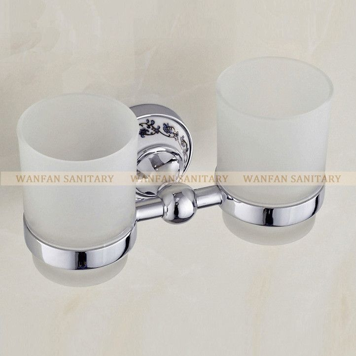 Luxury European style Chrome copper toothbrush tumbler&cup holder with 2 glass cups wall mounted bath product banheiro ST-6703