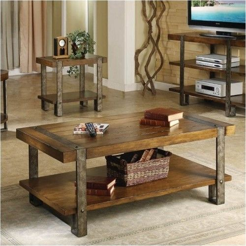 Bowery Hill Rectangular Cocktail Table In Landmark Worn Oak Cool