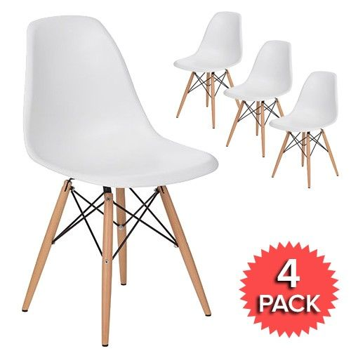 Set of 4 - DSW Dining Side Chair Wooden Legs - Eames Reproduction - White - Matte