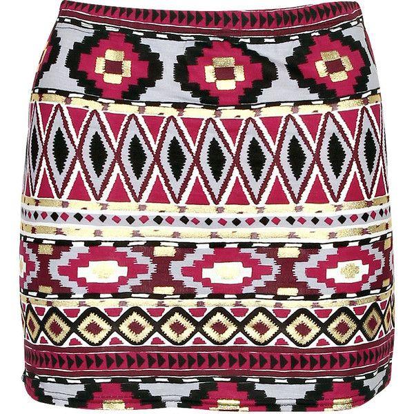 Boohoo Lily Foil Aztec Print Mini Skirt