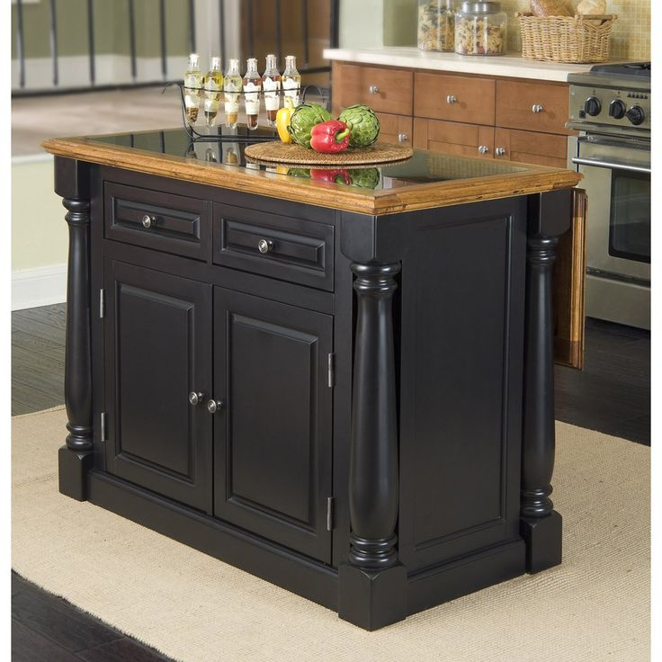 """Granite top kitchen island, Black, Distressed Oak Finish. Functional elements include two storage drawers and a two-door storage cabinet with four adjustable shelves..Click Image for Prices & Details #Kitchen #KitchenDiningIdeas #KitchenIdeas #KitchenFurniture #KitchenDesign #KitchenDesignIdeas (2018 New & Updated """"HelloFoods.com"""") - Kitchen Islands Carts Centers Utility Tables Ideas Best Rated Top 10 Reviews 11 HelloFoods"""