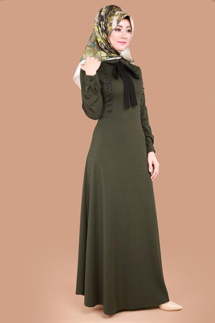 ** SONBAHAR / KIŞ ** Taşları Yatay Desen Elbise Haki Ürün kodu: MSW8178 --> 69.90 TL