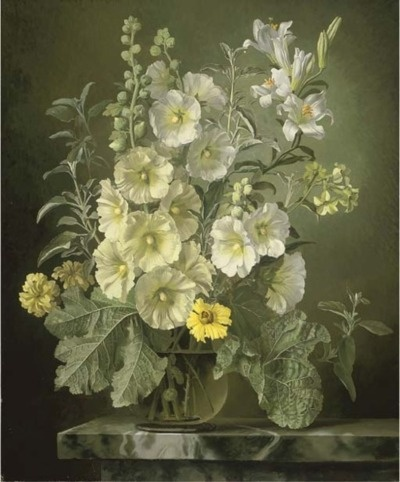Gerald A. Cooper - Still life painting with hollyhocks