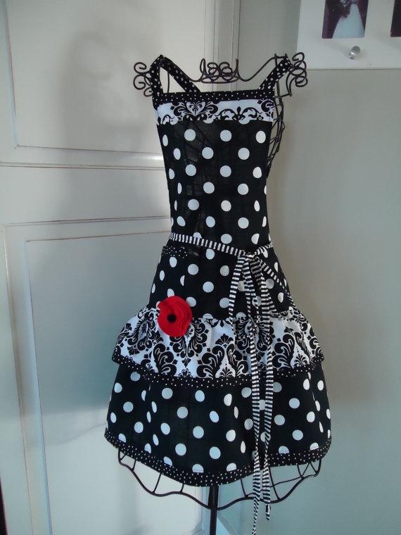 Black n White Polka Dot: Polka Dots, Decor Ideas, Black And White, 4Retrosist Woman, Black White, Diy Gifts, 4Retrosist Ellie, Sewing Aprons, Retro Aprons