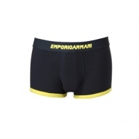 Emporio Armani's Follow Me style has proven exceptionally popular.  This blue and yellow boxer trunk is complete with the Armani eagle logo and yellow writing is an exceptionally stylish design.