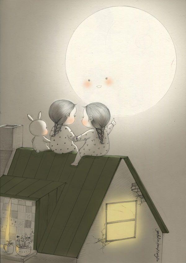 두둥실 커다란 달님이 찾아왔어요. 올해엔 무슨 소원을 빌어볼까요?  Mr.Big Moon visited us again. What will you wish for this year?