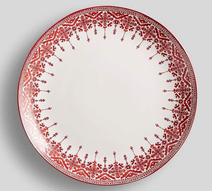 Tahoe Fair Isle Serving Platter Red Dinnerware Set