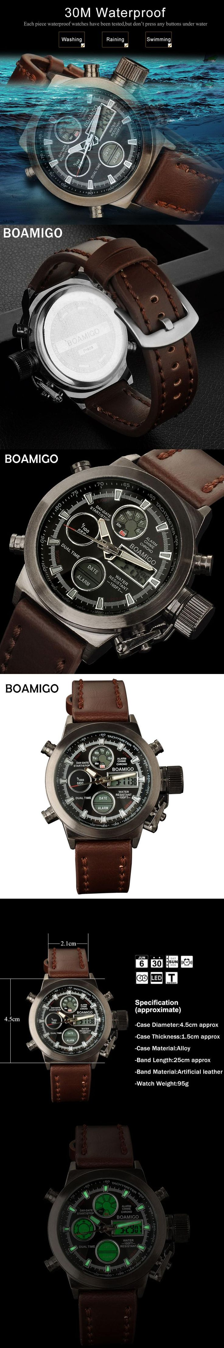 BOAMIGO men sports watches brown leather band man military quartz LED digital analog casual wristwatches waterproof reloj hombre