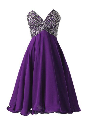 Dressystar Short Strapless Chiffon dress Fancy evening dress party dress Purple Size 26W >>> Click on the image for additional details.
