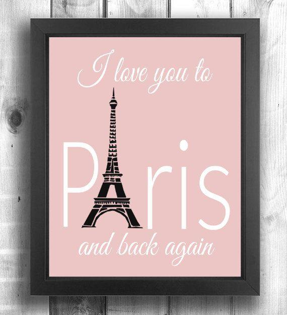 Pink Paris Print Paris Theme Art Paris Theme Wall by LilPeasPrints