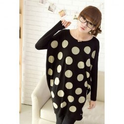 Casual Style Scoop Neck Plus Size Polka Dot Batwing Sleeve Cotton Blend T-Shirt For Women