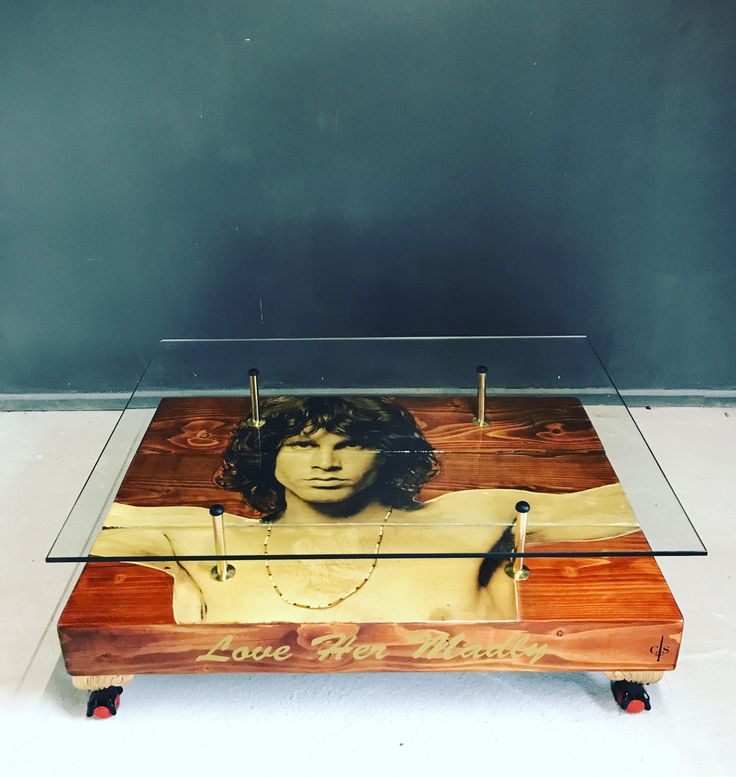 Jim Morrison Coffee Table with Glass Top. Teak stain hand painted image - ball and claw feet - polished brass supports.
