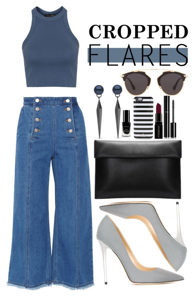 """""""Cropped flares"""" by dontneedfashion on Polyvore featuring Steve J & Yoni P, Topshop, Jimmy Choo, Inglot, Christian Dior, Kate Spade, Smashbox, Chanel, women's clothing and women's fashion"""
