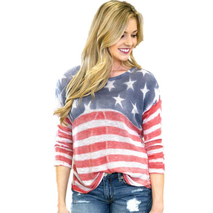 Goedkope Tshirt Vrouwen amerikaanse kleding vlag kleren camisetas y tops blusa feminina ropa mujer vestido 2016, koop Kwaliteit T- shirts rechtstreeks van Leveranciers van China: