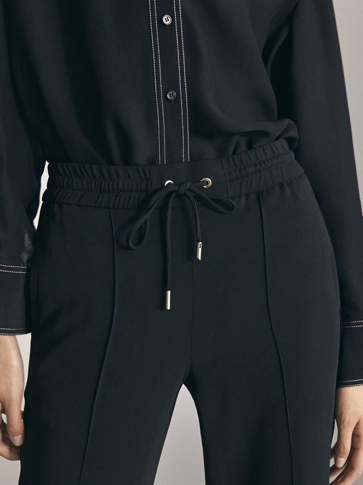 Massimo Dutti – Women – Black crepe jogging fit trousers – Black – 38