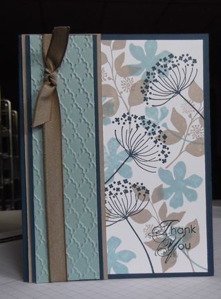 handmade card ... luv the make-your-own printed paper trend ... Summer Silhouettes  stamps used here ... lovely color combo of Crumb Cake (kraft), Baja Breeze (pale gray blue) and Midnight Muse (deep navy) ...